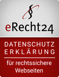Siegel eRecht24 Datenschutzerklärung für rechtssichere Webseiten
